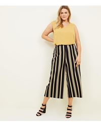New Look Curves Black Stripe Scuba Cropped Trousers