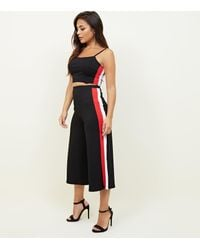 New Look Petite Black Side Stripe Ribbed Culottes