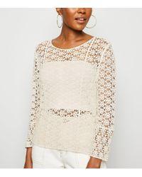New Look Natural Cream Crochet Long Sleeve Top