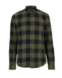 New Look Green Khaki Check Long Sleeve Shirt for men