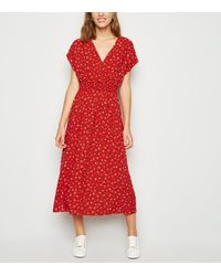 New Look Red Floral Shirred Waist Wrap Midi Dress