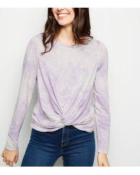 New Look Purple Tie Dye Twist Hem Fine Knit Top