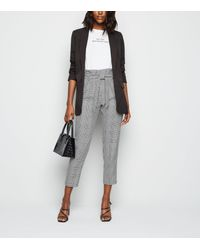 New Look Black Check Tie High Waist Trousers