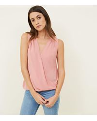 New Look Pink Wrap Front Sleeveless Top