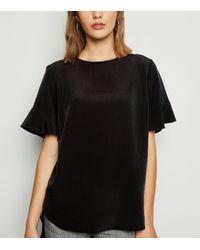 New Look Black Frill Sleeve Dip Hem T-shirt