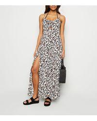 New Look White Leopard Print Beach Maxi Dress