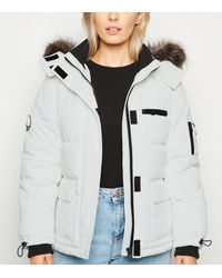 New Look Petite White Faux Fur Trim Puffer Jacket