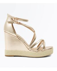 New Look Metallic Rose Gold Strappy Platform Espadrille Wedges