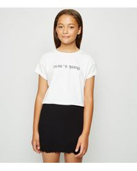 New Look Girls Black Frill Hem Tube Skirt