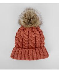 115698a3467 New Look Orange Faux Fur Pom Pom Beanie Hat in Orange - Lyst