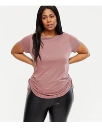 New Look Curves Deep Pink Ruched Tie Side T-shirt