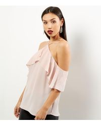 New Look Shell Pink Halter Neck Frill Trim Top