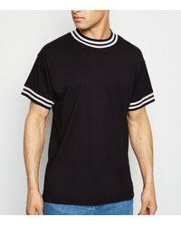 New Look Black Tipped Short Sleeve T-shirt for men