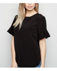 New Look Black Frill Sleeve T-shirt
