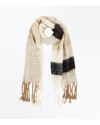 New Look Natural Mink Stripe Boucle Blanket Scarf