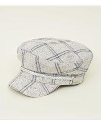New Look Cream Check Baker Boy Hat - Lyst c51b7ac7422