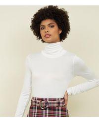New Look Off White Long Sleeve Roll Neck Bodysuit