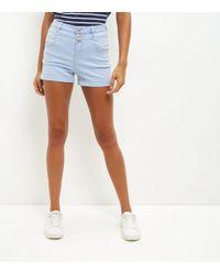 New Look - Blue High Waisted Denim Shorts - Lyst