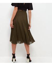 New Look Olive Green Chiffon Pleated Midi Skirt