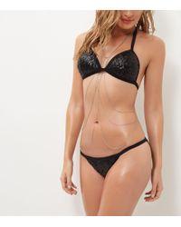 New Look Black Sequin Triangle Bikini
