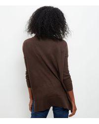 New Look Dark Brown Funnel Neck Step Hem Boxy Jumper