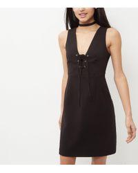 New Look Black Lace Up Front Sleeveless Mini Dress