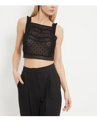 New Look Black Lace Embroidered Panel Pinafore Crop Top