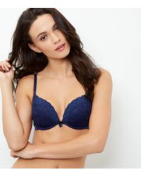 New Look - Blue Navy Lace Push Up Bra - Lyst