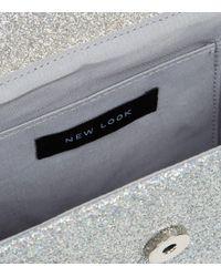 New Look Metallic Silver Glitter Shoulder Bag