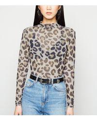 New Look Brown Leopard Print Mesh Turtleneck Top