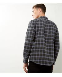 New Look Black Khaki Check Cotton Double Pocket Long Sleeve Shirt for men