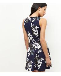AX Paris Blue Navy Floral Print Skater Dress