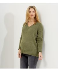 New Look Green Maternity Khaki V Neck Long Sleeve Jumper