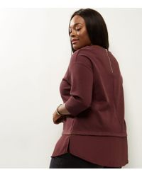 New Look Red Curves Burgundy 2 In 1 3/4 Sleeve T-shirt