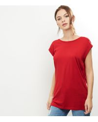 New Look Tall Red Rolled Sleeve Boyfriend T-shirt