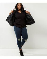 New Look Curves Black V Neck Long Sleeve Top