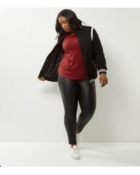 New Look Curves Red V Neck Long Sleeve Top
