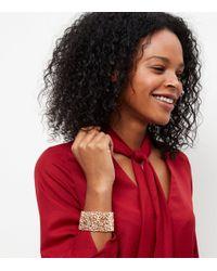 New Look - Metallic Gold Leaf Wide Stretch Bracelet - Lyst