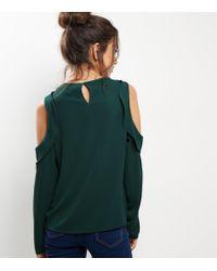 New Look Dark Green Frill Trim Cold Shoulder Top