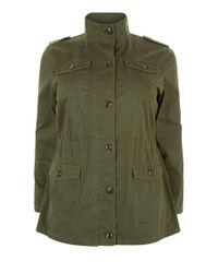 New Look Green Curves Khaki Pocket Front Jacket