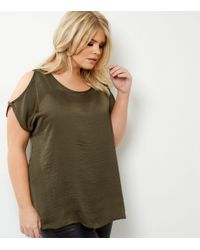 New Look Natural Curves Khaki Sateen Cold Shoulder Top