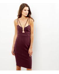 New Look   Purple Burgundy Metal Trim Strappy Bodycon Midi Dress   Lyst