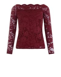 New Look Red Burgundy Lace Scallop Hem Bardot Neck Top