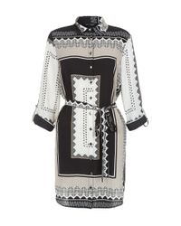 New Look - Black Abstract Print Belted Shirt Dress - Lyst