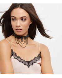 New Look - Black Lace Drap Chain Choker - Lyst