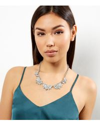 New Look - Metallic Silver Crystal Flower Necklace - Lyst