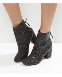 New Look Black Glitter Block Heel Ankle Boots