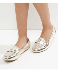 New Look Gold Metallic Loafers
