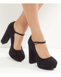 New Look Wide Fit Black Suedette Platform Block Heels