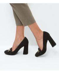 New Look Black Suede Flared Heel Loafers
